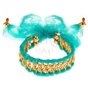 Náramek, kroužky zlaté barvy propletené se síťovinou, světle tyrkysový odstín