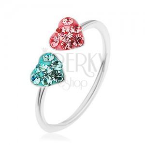 Prsten ze stříbra 925, roztahovací, růžové a modré srdíčko vykládané zirkony