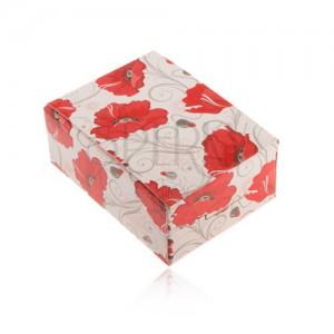 Dárková krabička na prsten a náušnice nebo řetízek, červené květy