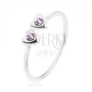 Stříbrný 925 prsten, nastavitelný, dvě srdíčka s fialovými zirkony