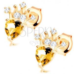 Zlaté náušnice 375 - zirkonová korunka, světle žlutý srdíčkový citrín