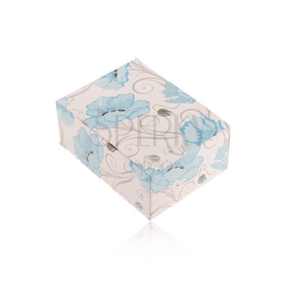 Papírová krabička na prsten a náušnice nebo řetízek, modré květy vlčího máku