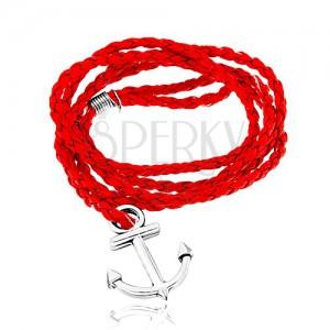 Pletený náramek, červená barva, lesklá kotva ve stříbrném odstínu