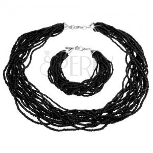 Sada náhrdelníku a náramku, černé korálky, karabinkové zapínání