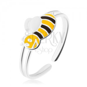 Stříbrný 925 prsten, usmívající se včelička, úzká dvojitá ramena