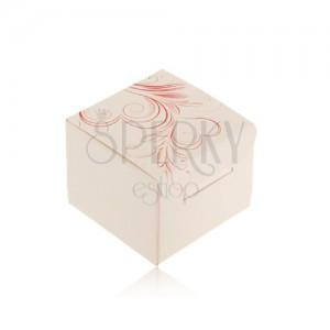 Krémová krabička na prsten, náušnice nebo přívěsek, červené srdcovité ornamenty