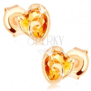 Zlaté náušnice 375 - srdíčko ze žlutého citrínu v neúplném obrysu