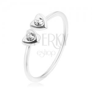 Blýskavý prsten, stříbro 925, dvě srdíčka se zirkonky čiré barvy