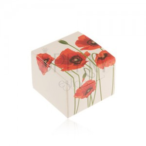 Papírová krabička na dárek - prsten, přívěsek nebo náušnice, motiv vlčích máků