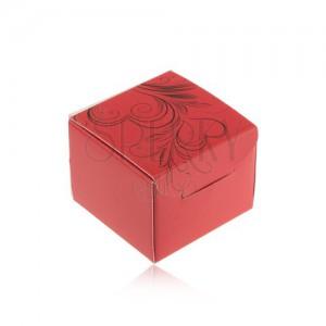 Červená dárková krabička na prsten, náušnice nebo přívěsek, černé ornamenty