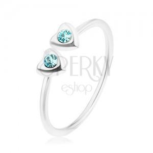 Stříbrný 925 prsten, nastavitelný, dvě srdíčka s modrými zirkony