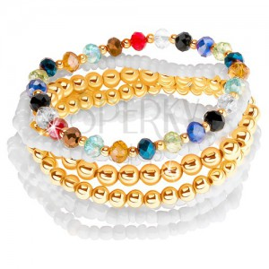 Multináramek z kuliček zlaté a bílé barvy, různobarevné broušené korálky