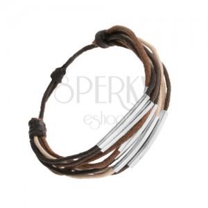 Šňůrkový náramek, odstíny hnědé, béžové a černé barvy, ocelové články