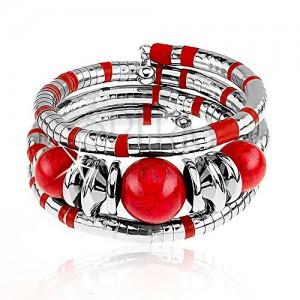 Náramek na trojité obtočení okolo ruky, stříbrná a červená barva