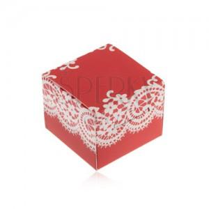 Červenobílá krabička na prsten, náušnice nebo přívěsek, motiv krajky
