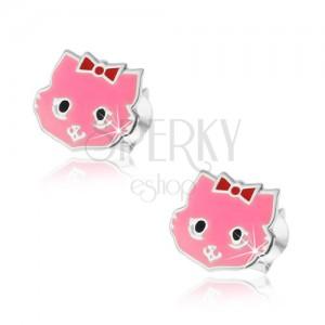 Stříbrné 925 náušnice, růžová kočička s mašlí a černýma očkama