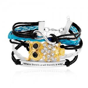 Náramek z černých, bílých a světle modrých šňůrek, symbol INFINITY, sova, známka