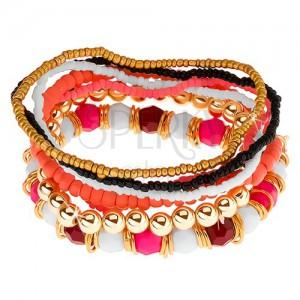 Elastický multináramek, korálky růžové, bílé, černé a zlaté barvy