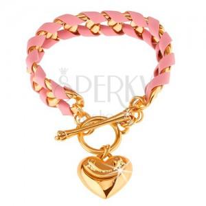 Blýskavý náramek, řetízek zlaté barvy propletený růžovým páskem, srdíčko