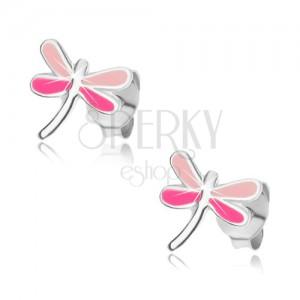 Náušnice ze stříbra 925, vážka s křídly v odstínech růžové barvy