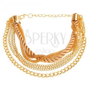 Multináramek zlaté barvy, řetízky různých vzorů, spirálovitě zatočená šňůrka