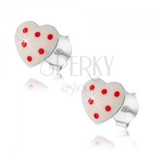Puzetové náušnice, stříbro 925, vypouklé bílé srdíčko s červenými tečkami