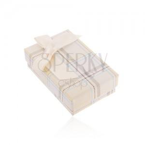 Krabička na náhrdelník nebo sadu prstenu a náušnic, žlutý károvaný vzor, mašle