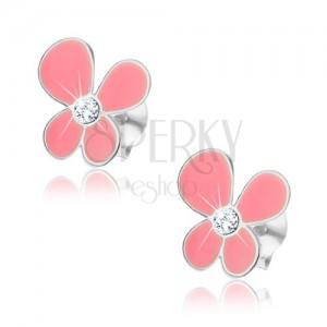 Puzetové náušnice, stříbro 925, růžový kvítek s asymetrickými lupínky