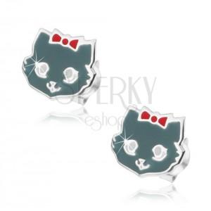 Stříbrné 925 náušnice, kočička šedé barvy, červená mašle, bílá očka