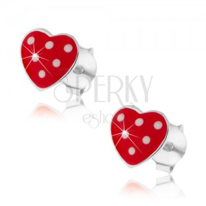 Náušnice ze stříbra 925, červené vypouklé srdíčko, drobné bílé tečky