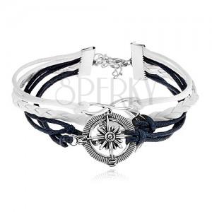 Pletený náramek, tmavě modré a bílé šňůrky, symbol INFINITY, kotva, kompas