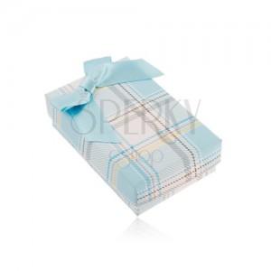 Krabička na řetízek nebo set prstenu a náušnic, světle modrý károvaný vzor