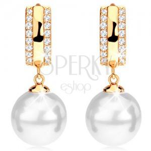 Zlaté náušnice 585 - kroužek se zirkonovými okraji, kulatá bílá perla