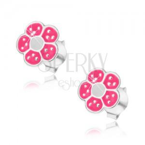 Stříbrné náušnice 925, růžovo-bílý kvítek, drobné lesklé tečky