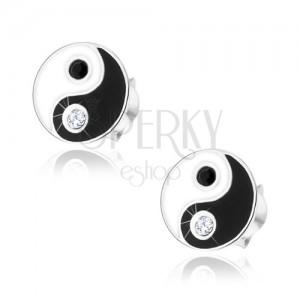 Puzetové náušnice, stříbro 925, černobílý symbol Jin a Jang, zirkonky