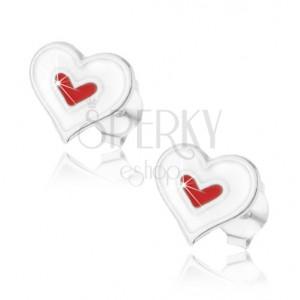 Stříbrné 925 náušnice, dvojité srdíčko s bílou a červenou glazurou