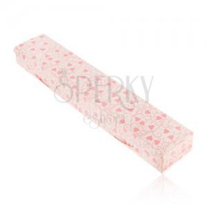 Dárková krabička na řetízek nebo hodinky, růžová srdíčka a spirály