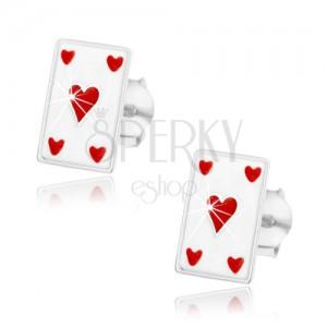 Stříbrné náušnice 925, bílá karta - červené srdce, puzetky