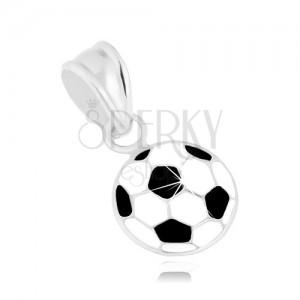 Lesklý přívěsek, stříbro 925, fotbalový míč pokrytý bílou a černou glazurou