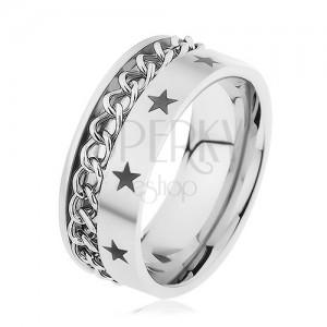 Ocelový prsten stříbrné barvy zdobený řetízkem a hvězdičkami