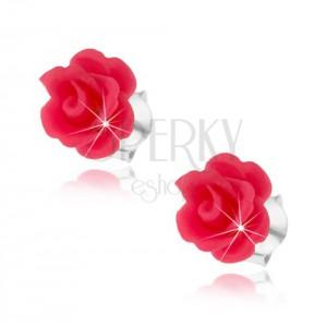 Puzetové náušnice ze stříbra 925, vypouklé růže v růžovém odstínu