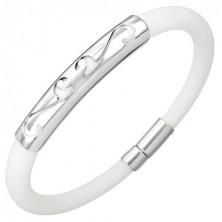 Kulatý gumový náramek - ornament, bílý