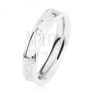 Ocelový prsten stříbrné barvy, vyhloubený střed, čirý zirkonek, ETERNAL LOVE