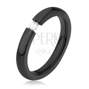 Lesklý prsten z chirurgické oceli, černá barva, kulatý čirý zirkon, 3 mm