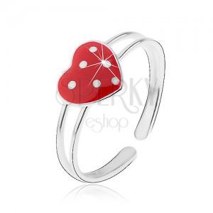 Prsten ze stříbra 925, rozdvojená ramena, červené srdíčko s bílými tečkami