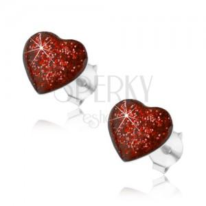 Stříbrné náušnice 925, srdce zdobené červenou glazurou s glitry, puzetky