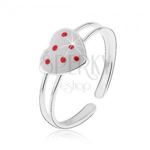 Stříbrný prsten 925, rozdvojená ramena, bílé srdíčko s červenými tečkami