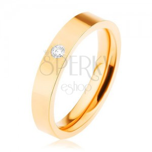 Prsten z oceli 316L, zlatá barva, drobný čirý zirkonek, vysoký lesk