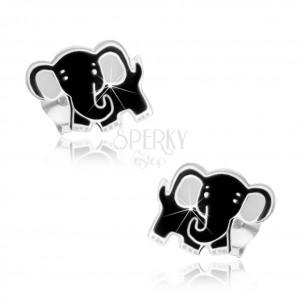 Stříbrné náušnice 925, roztomilý slon, černá a bílá glazura, puzetky