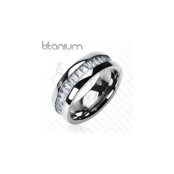 Titanový prsten se vsazenými, obdélníkovými zirkony